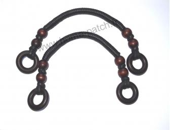 Anses de sac coloris noir avec perles bois