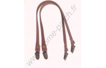 Anses de sac clips bretelles 40 cm marron