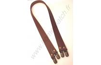 Anses de sac en cuir et clips bretelles 60 cm marrons