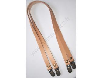 Anses de sac en cuir et clips bretelles 60 cm beige