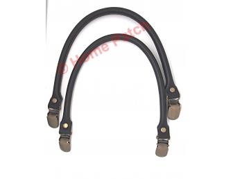 Anses de sac noires avec clips bretelles 40 cm