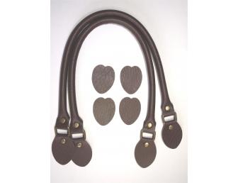 Anses de sac rabattables 48 cm coloris marron foncé