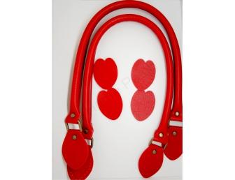 Anses de sac 60 cm rabattables coloris rouge profond