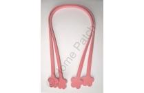 Anses de sac 60 cm fleur à coudre rose vif