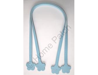 Anses de sac 60 cm fleur à coudre coloris bleu
