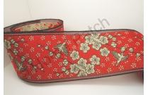 Galon de tatami rouge vif avec fleurs et oiseaux
