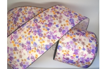 Galon de tatami petites fleurs violettes fond blanc