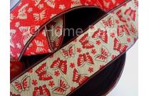 Galon de tatami beige avec papillons rouges