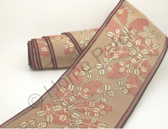 Galon de tatami rose avec feuillages