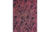 Tissu velours fond noir vagues rouges