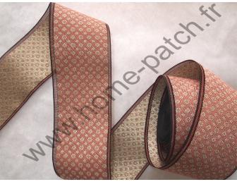 Galon tatami réversible petits motifs fond beige rosé