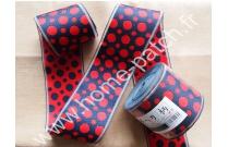 Galon tatami réversible pois rouges fond bleu
