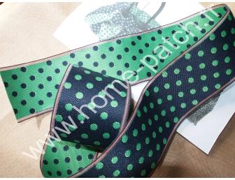 Galon tatami réversible pois verts fond bleu