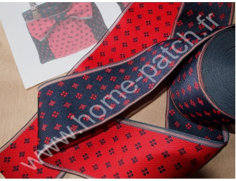 Galon tatami réversible bleu rouge motifs étoiles