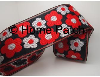 Galon de tatami avec pensées rouges et blanches