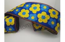 Galon de tatami avec fleurs jaunes et bleues sur fond bleu