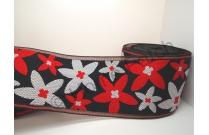 Galon de tatami avec marguerites rouges et blanches sur fond noir