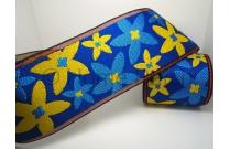 Galon de tatami avec marguerites jaunes et bleues sur fond bleu