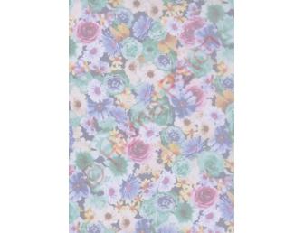 Tulle imprimé bouquet fleurs vert et bleu