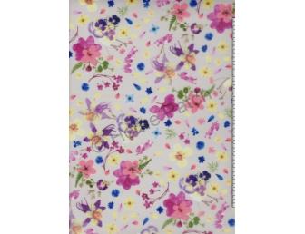 Tulle imprimé fleurs sur fond blanc