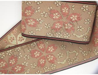Galon tatami motif sakura coloris vieux rose