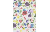 Tulle imprimé fleurs multicolores sur fond blanc