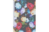 Tulle imprimé grosses fleurs multicolores fond bleu marine