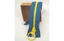 Fermeture éclair bicolore bleu canard et jaune fluo 20 cm