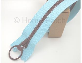 Fermeture éclair bicolore bleue et marron foncé 20 cm