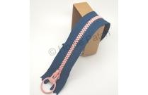 Fermeture éclair bicolore bleu de Prusse et rose 20 cm