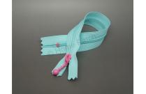 Fermeture éclair bleue turquoise tirette rose