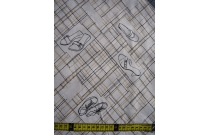 Tissu patchwork japonais H. HANAOKA chaussures doré fond blanc