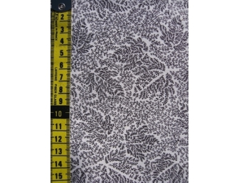 Tissu patchwork japonais H. HANAOKA feuille noire fond blanc