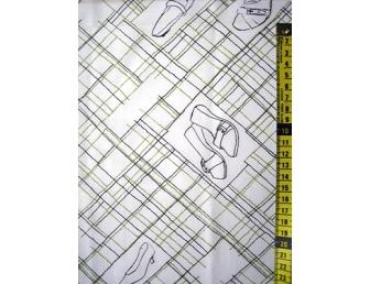 Tissu patchwork japonais H. HANAOKA chaussures fond blanc