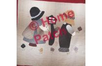 Kit patchwork japonais en appliqué couple de Sunbonnets avec une lettre