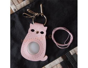 Porte-clés à personnaliser chat rose