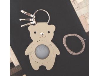 Porte-clés à personnaliser ours beige mastic