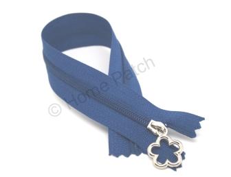 Fermeture éclair 22 cm bleu navy tirette fleur
