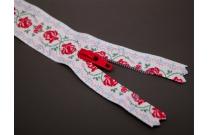 Fermeture éclair imprimée guirlande de roses rouges et vertes