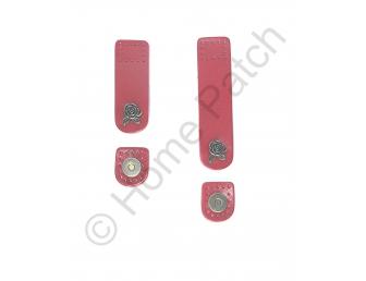 Languette cuir rouge avec bouton aimanté bouton de rose