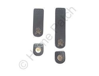 Languette cuir noir avec bouton aimanté bouton de rose