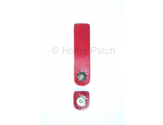 Languette cuir rouge avec bouton aimanté motif de fleur