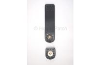 Languette cuir noir avec bouton aimanté motif de fleur