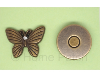 Pression aimantée papillon couleur laiton vieilli