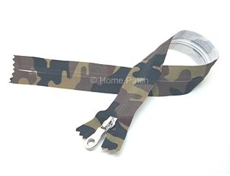 Fermeture éclair imprimée camouflage kaki
