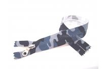 Fermeture éclair imprimée camouflage bleue