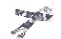 Fermeture éclair imprimée camouflage gris et noir