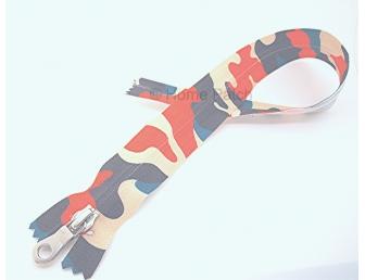 Fermeture éclair imprimée camouflage multicolore