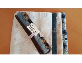 lot 4 coupons tissus patchwork japonais bleu marron et écru