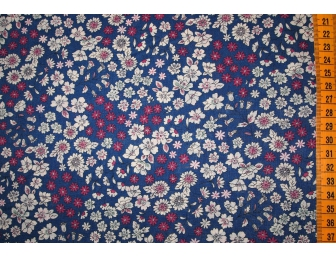 Tissu patchwork japonais LECIEN façon Liberty fond bleu